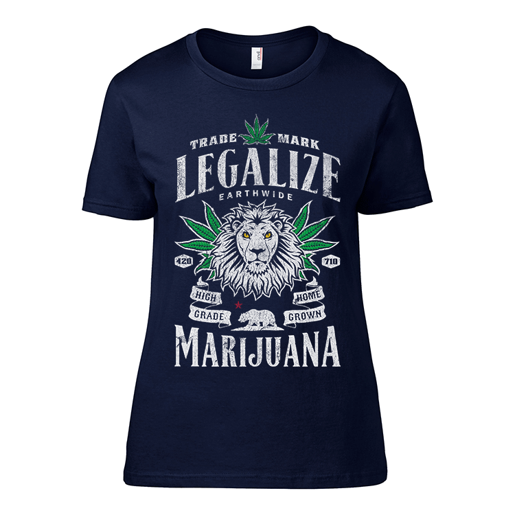 Irie Magazine | Legalize Marijuana Womens Tee - Navy